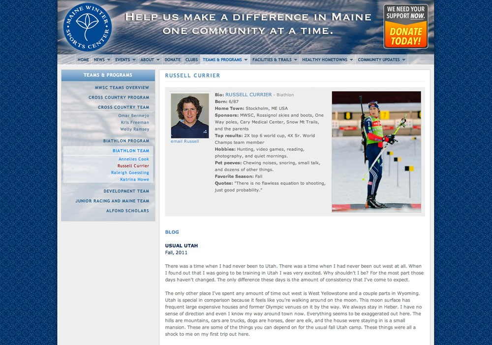 Maine Winter Sports Center: A Maine Website Design by SlickFish Studios