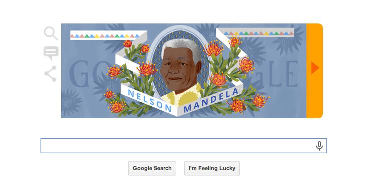 Nelson Mandela colorful Google Doodle