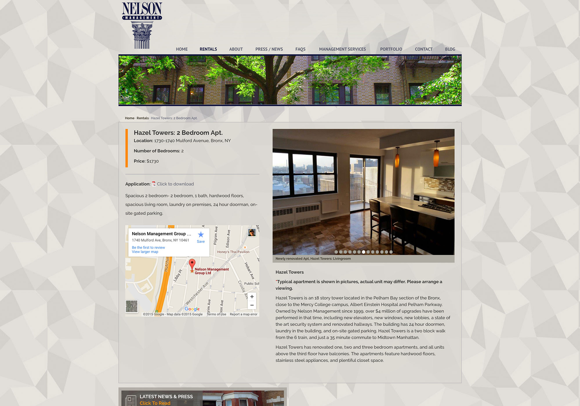 A screenshot of a Rental listed on the Nelson Management Group website.A Maine Website Design by SlickFish Studios