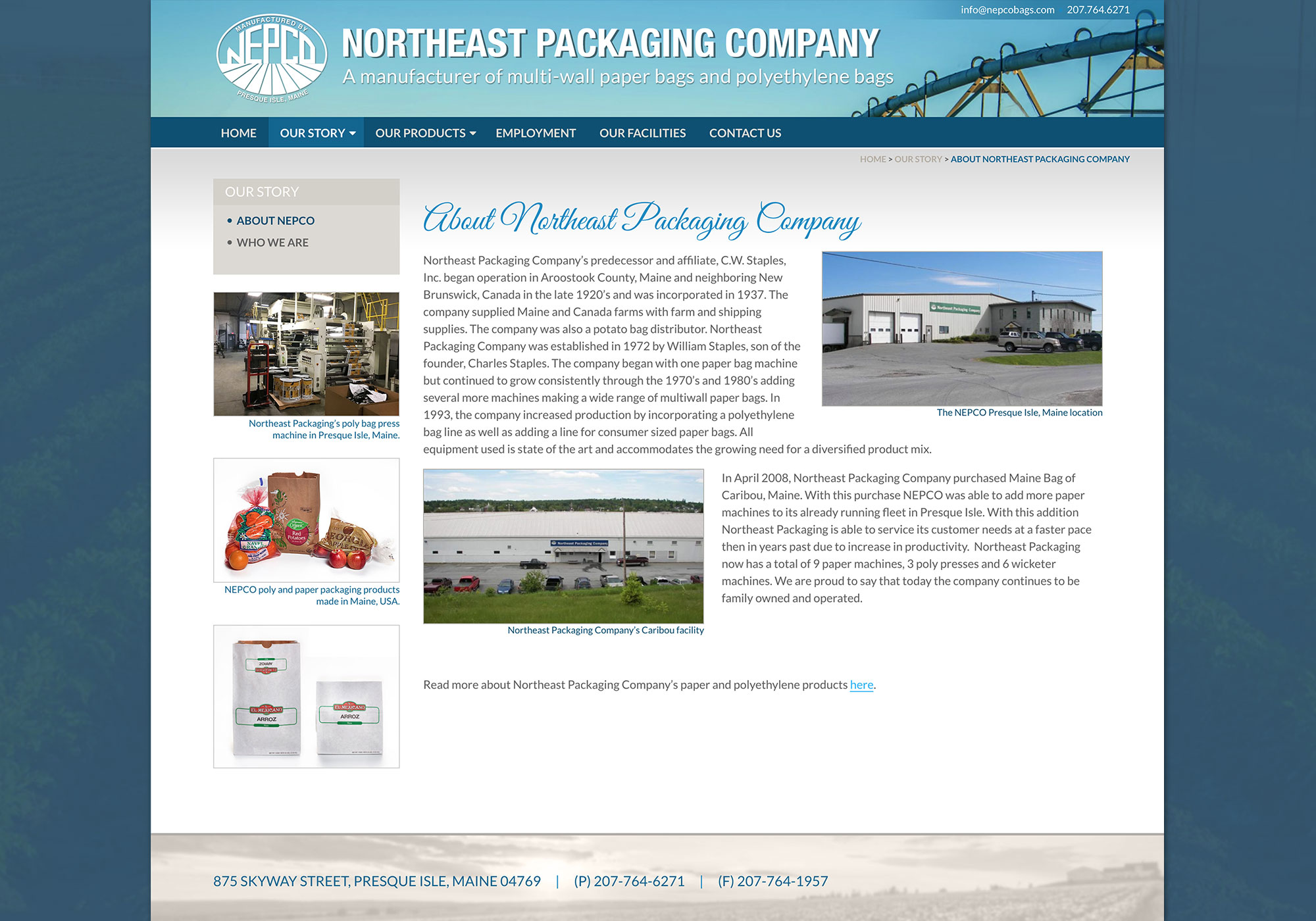 A screen shot of the About Us page on the Northeast Packaging Company website. Design and programming by Maine creative website design company, SlickFish Studios.