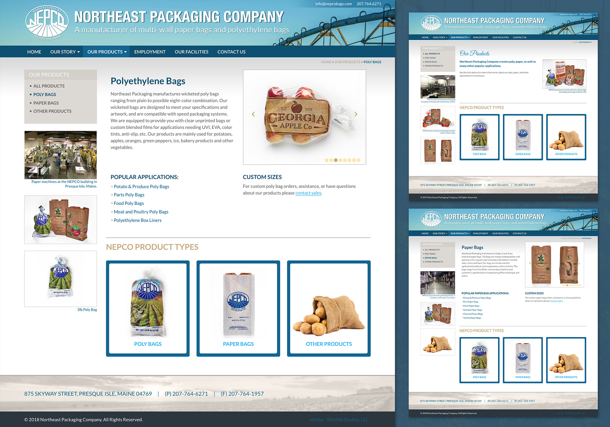 A composite screenshot showing NEPCO's paper, poly and products landing pages for their bags. Designed and developed by Maine website design company, SlickFish Studios