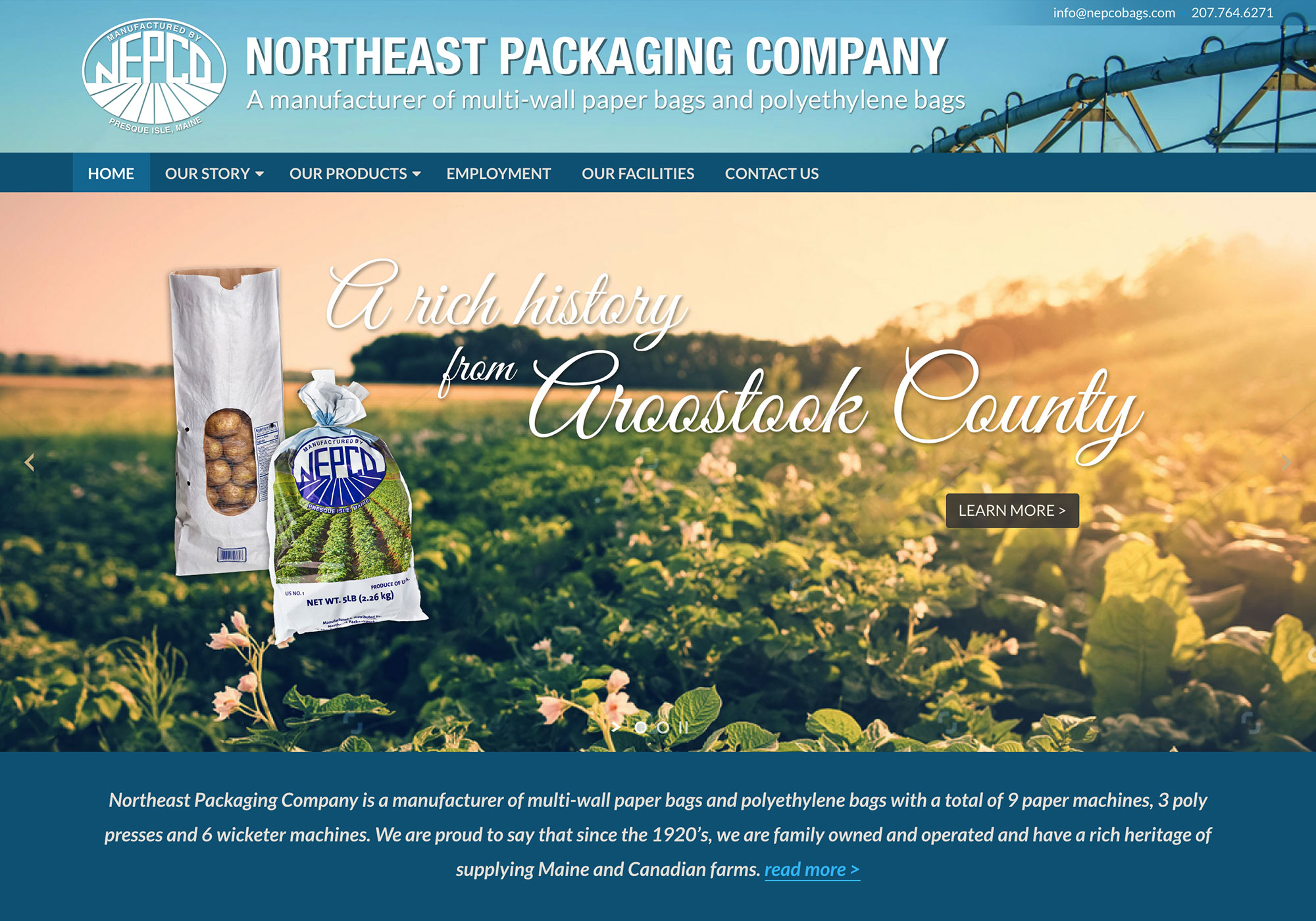 A screenshot of the homepage from the SlickFish Studios designed and developed website for Northeast Packaging Company.