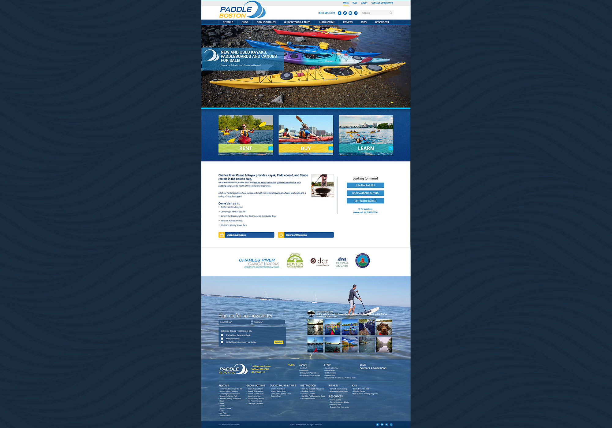 A composite of the homepage for Paddle Boston designed by SlickFish Studios in Portland, Maine.