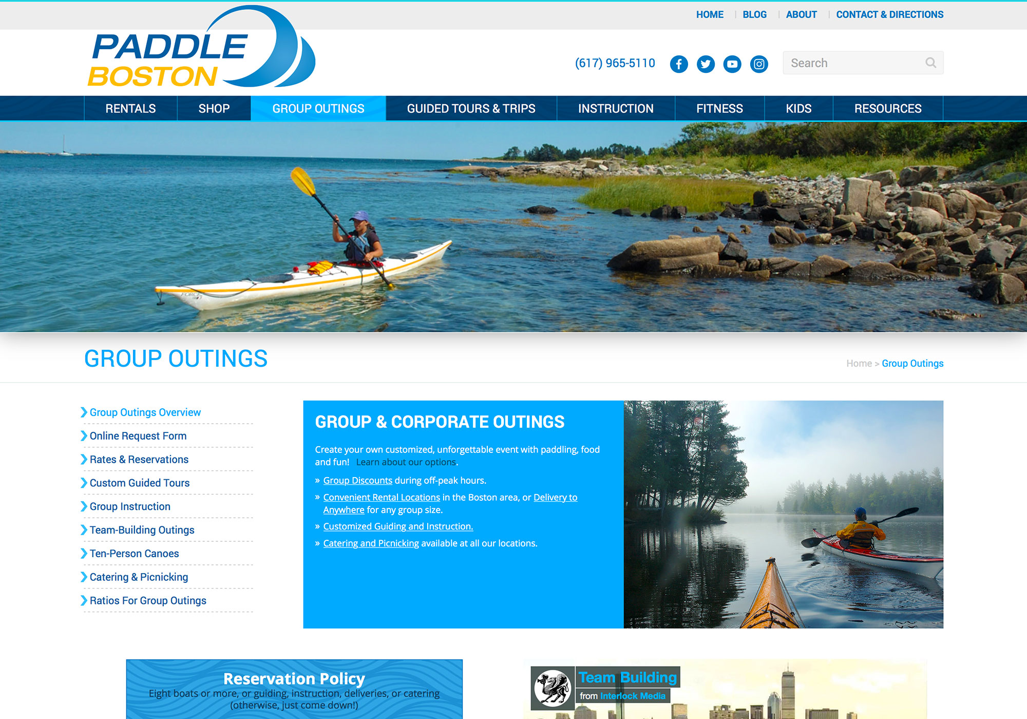 Signing up for Paddle Bostons Group Outings on Kayaks, and Canoes is easy with custom wordpress website design by Maine website design company, SlickFish Studios.