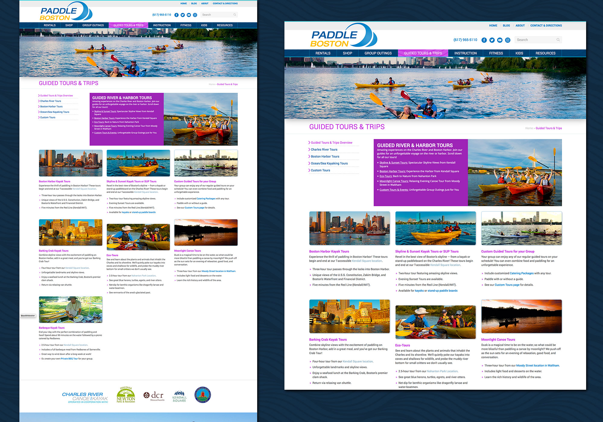 Guided Tours section has a specific color scheme in this custom wordpress website design for Paddle Boston by Portland, Maine website design company, SlickFish Studios.