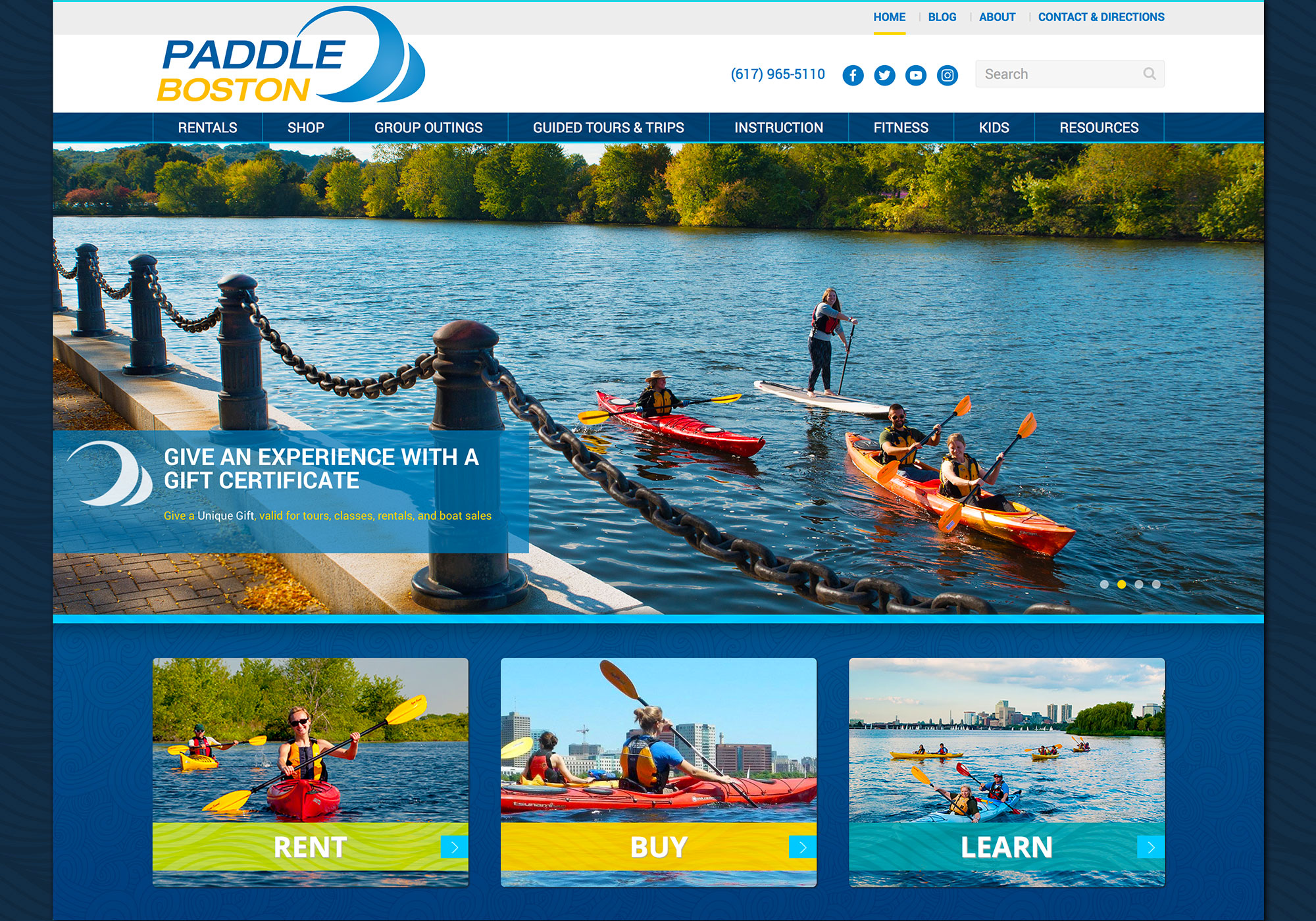 Another look at the homepage for Paddle Boston's new website. Designed by SlickFish Studios.