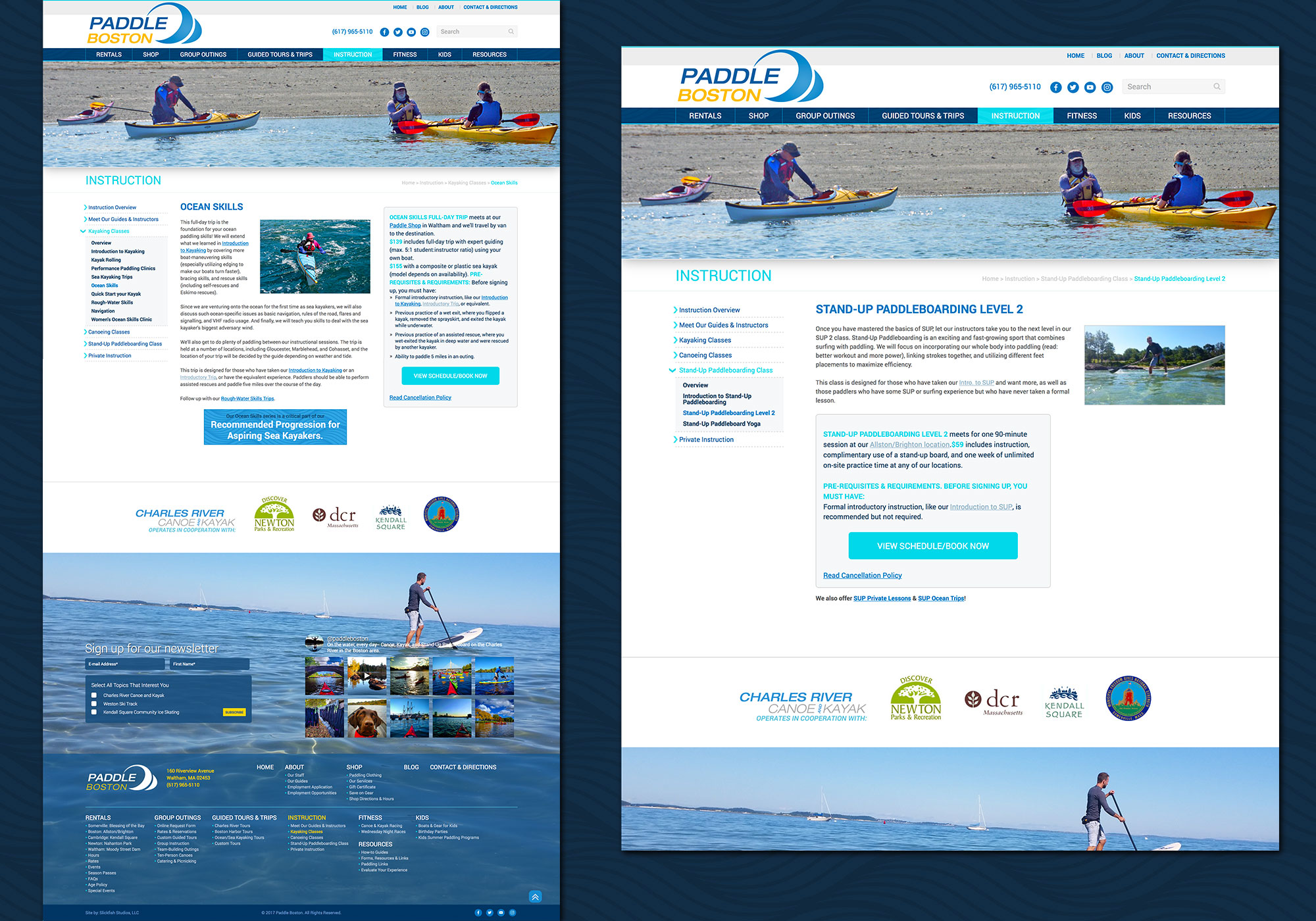 A composite look at the Instruction page/section on the new Paddle Boston website. Includes instruction on Stand-up paddle boards, Kayaking, sea kayaking and canoeing. Designed and developed by Maine website design company, SlickFish Studios