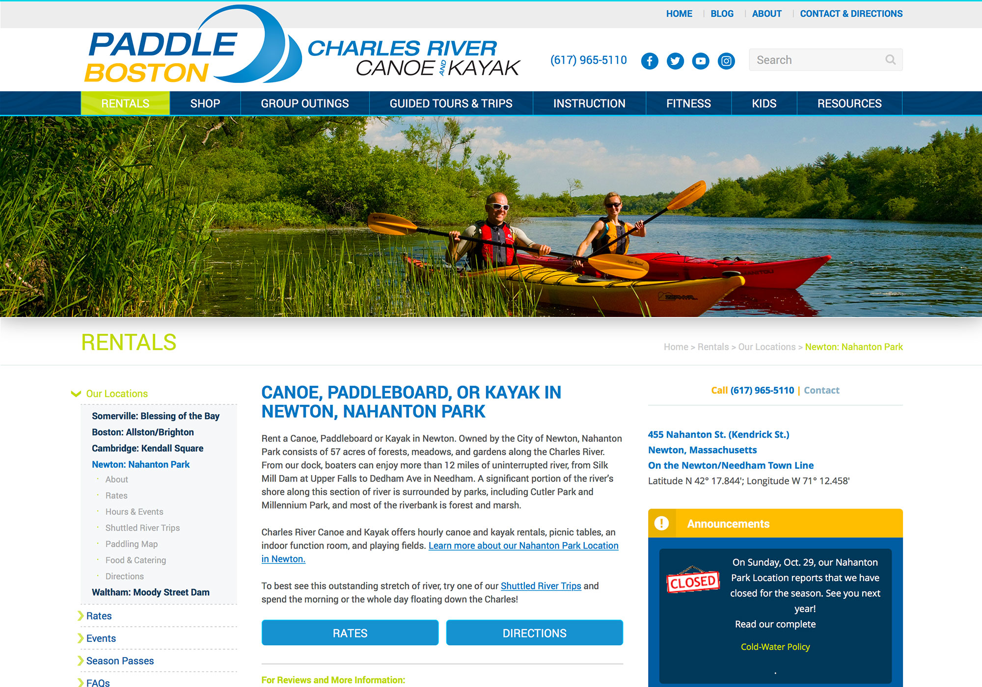 Wordpress website design for Paddle Boston in Cambridge, Waltham, Newton, Somerville, and Boston Massachusetts. Website design by Portland, Maine website design company, SlickFish Studios.