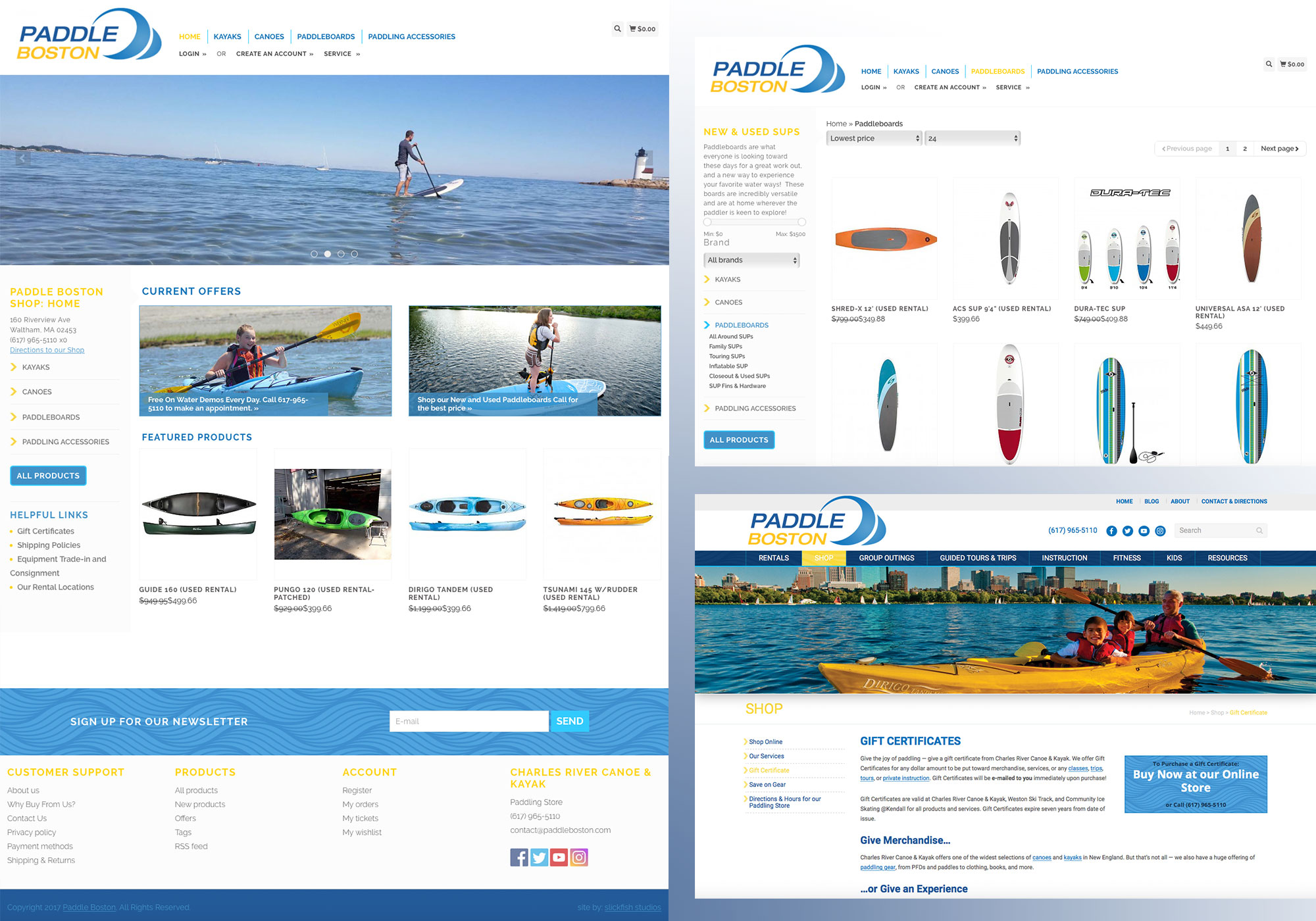 Maine web design company, SlickFish Studios customized an online store for Paddle Boston/Charles River Canoe and Kayak using the Lightspeed software.