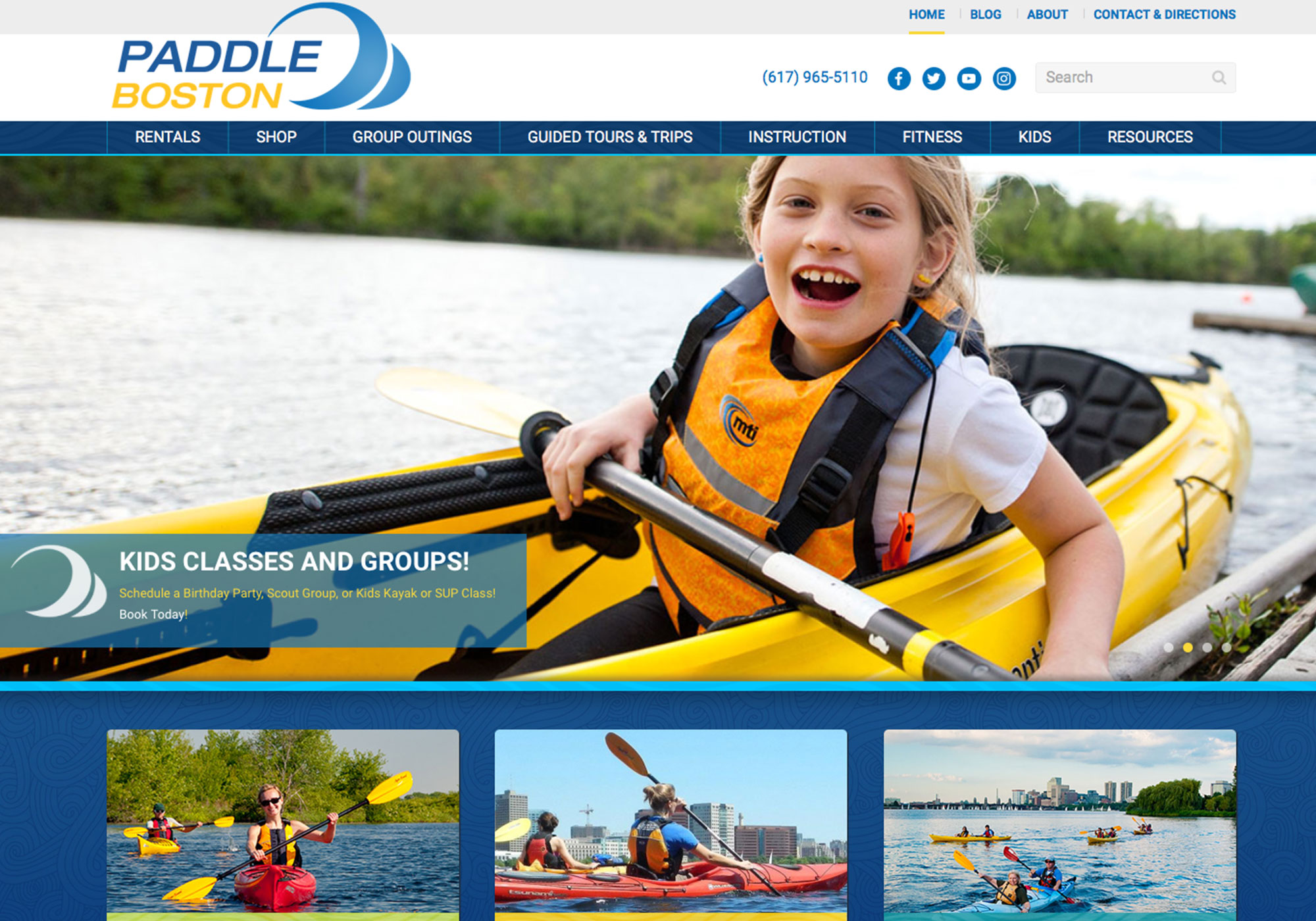 A screenshot of the SlickFish Studios designed and developed website for Paddle Boston, aka Charles River Canoe & Kayak.