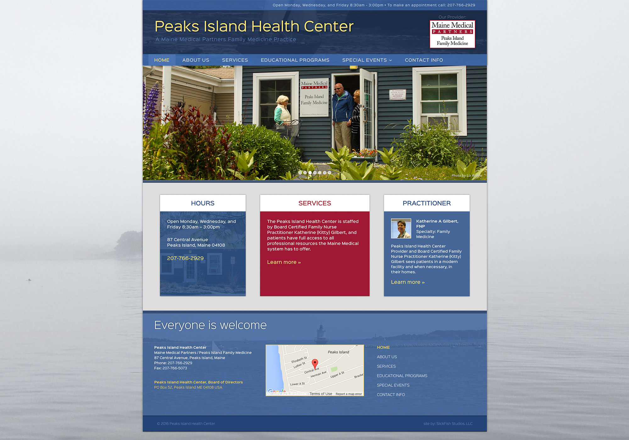 A screenshot crop of the SlickFish Studios designed website for the Peaks Island Health Center.