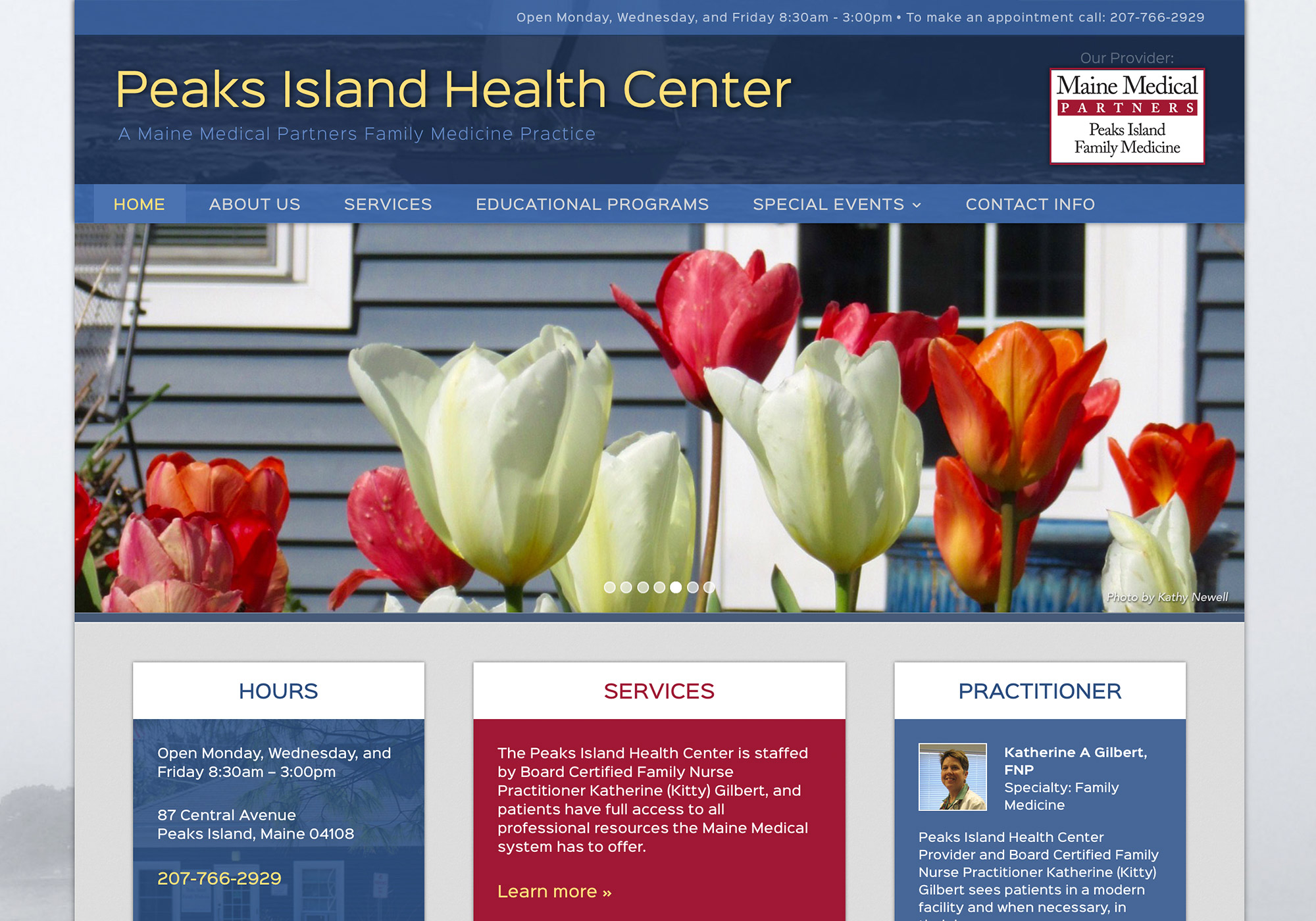 A screenshot from the top of the Peaks Island Health Center website - showcasing the interactive slideshow built by SlickFish.