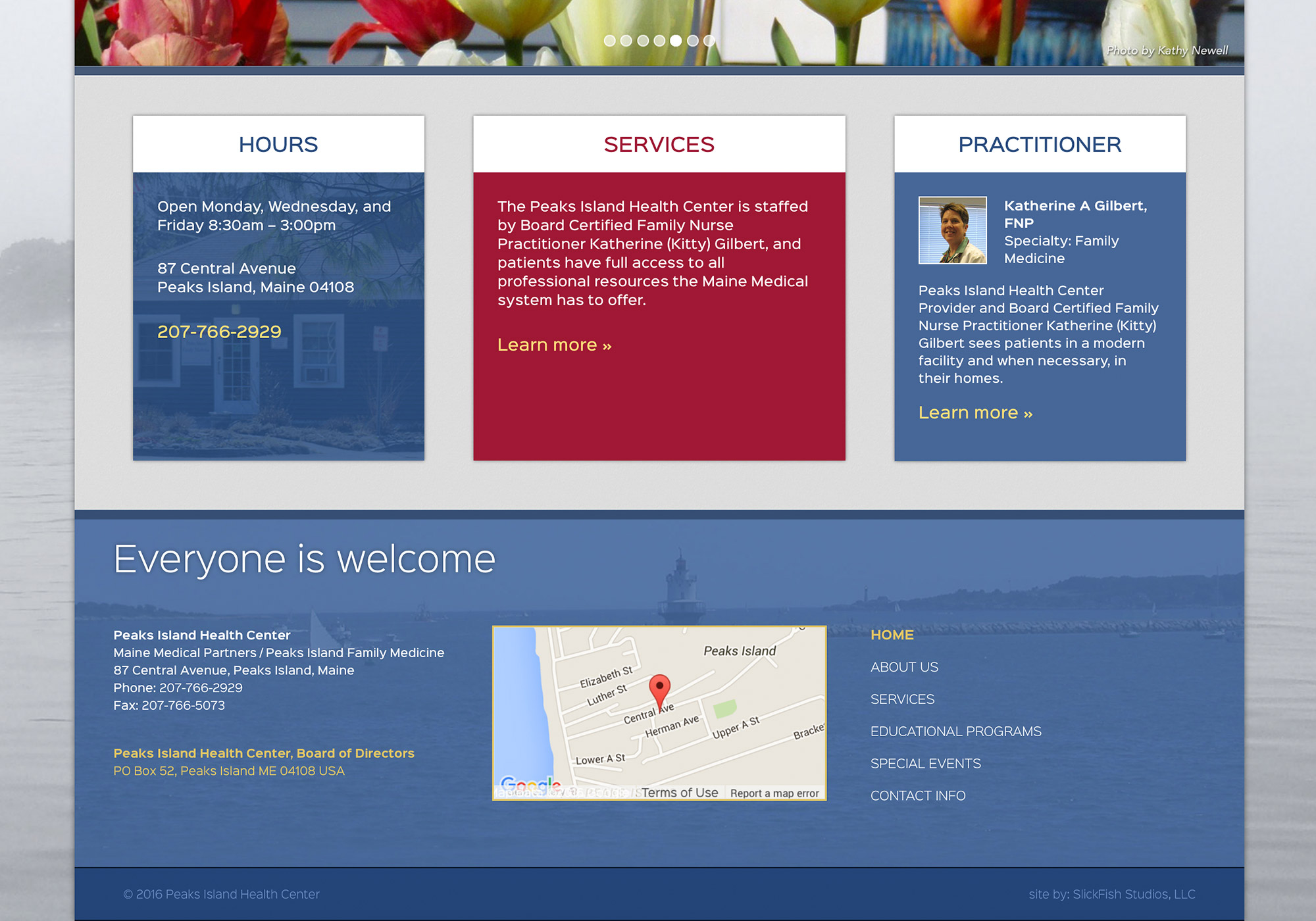 The bottom details of the homepage of the SlickFish designed and developed website for Peaks Island Health Center on Peaks Island, Maine.