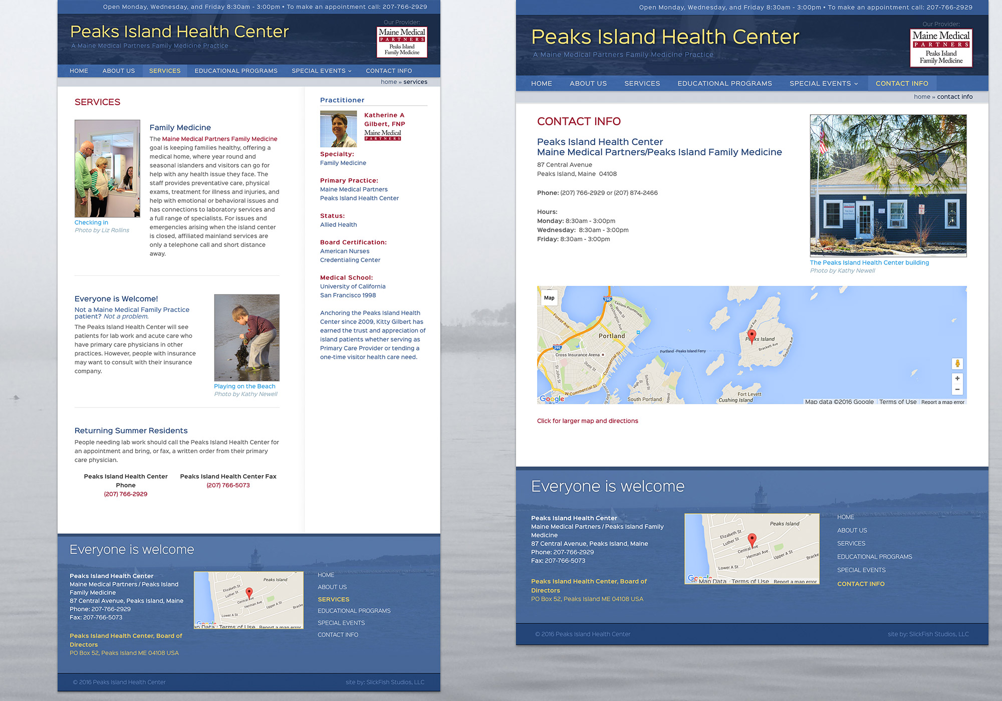 A split composite image of the Peaks Island Health Center, Contact, and Services pages. The website was designed and built by Portland, Maine creative website design company, SlickFish Studios.