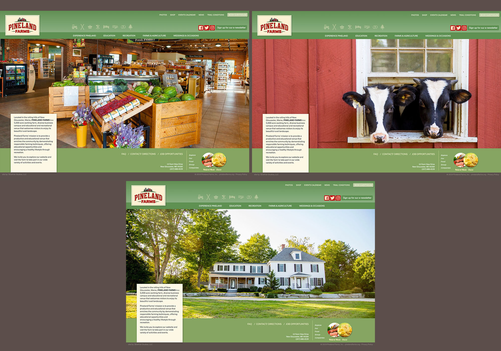 A website for a working farm and diverse business and education campus in Maine.