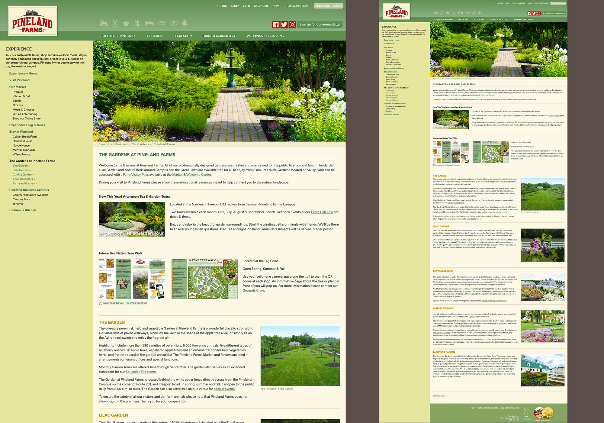 Pineland Farms: a website by SlickFish Studios