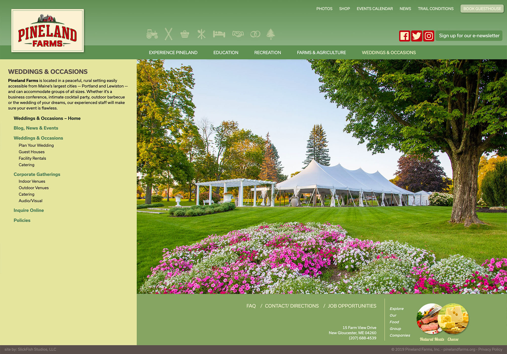 Pineland Farms Weddings landing page by slickfish