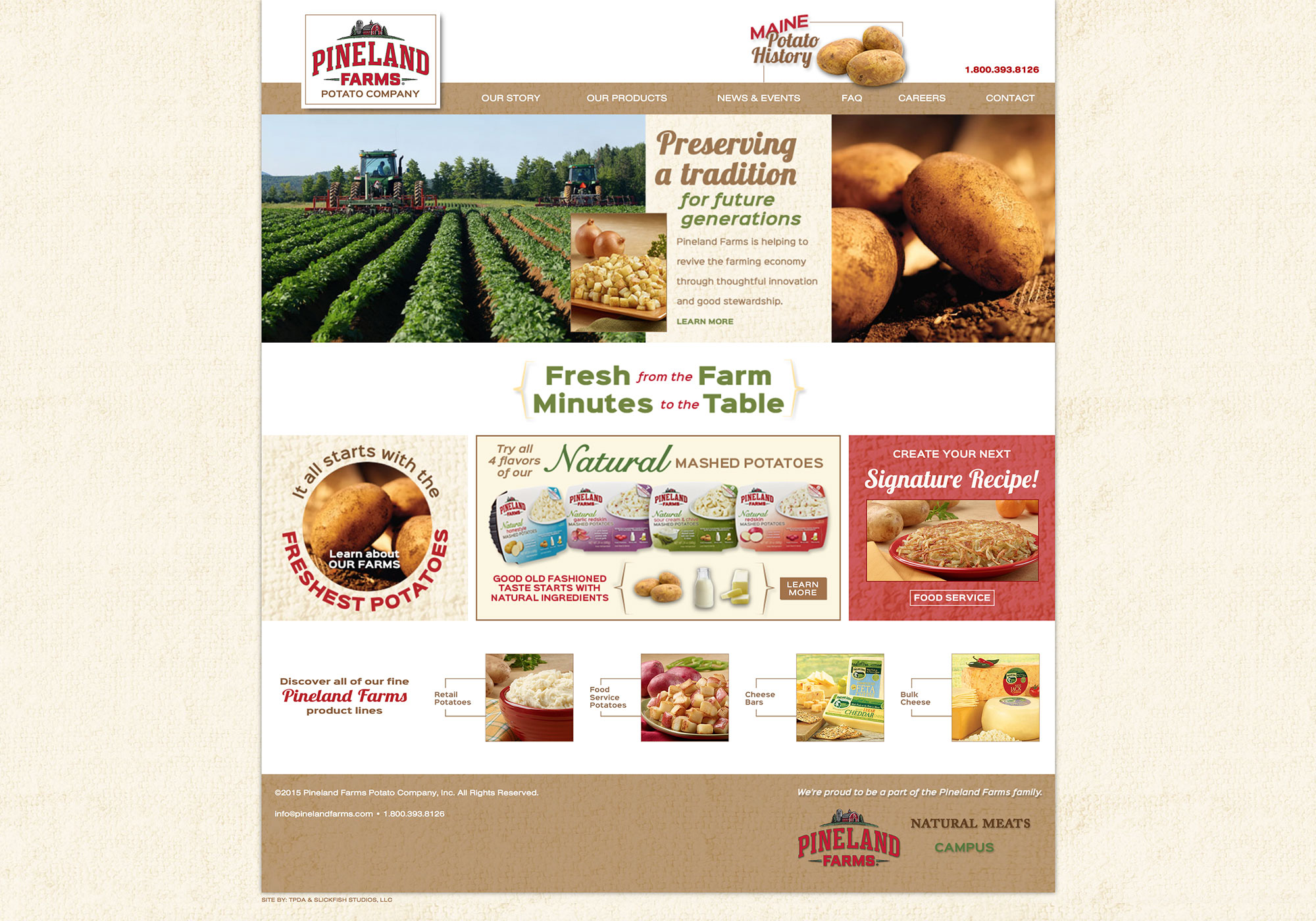 A screenshot of the homepage from the new SlickFish Studios designed website for Pineland Potatoes.