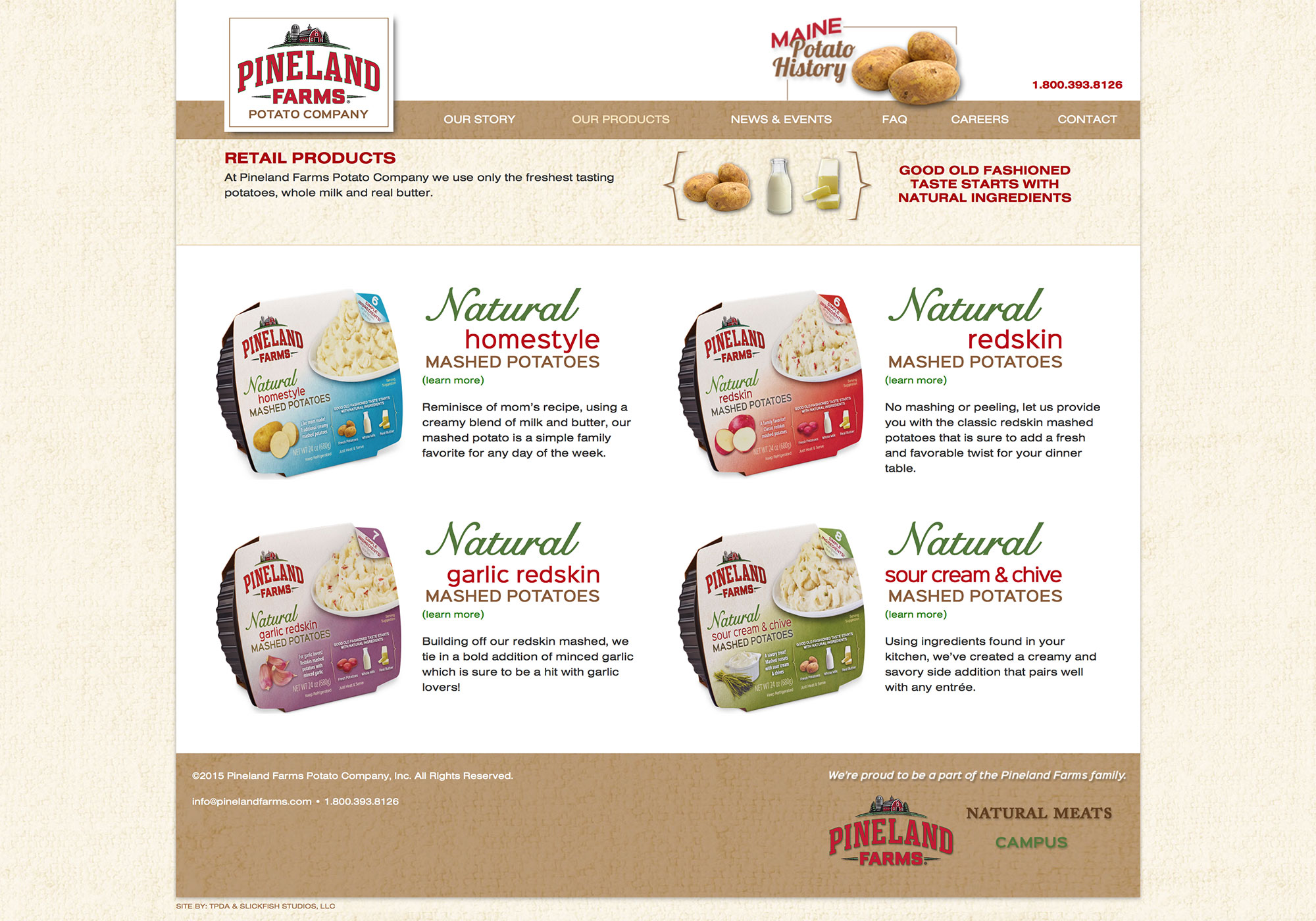 A screenshot of the responsive website for Pineland Farms Potato Company by SlickFish Studios, in Maine.