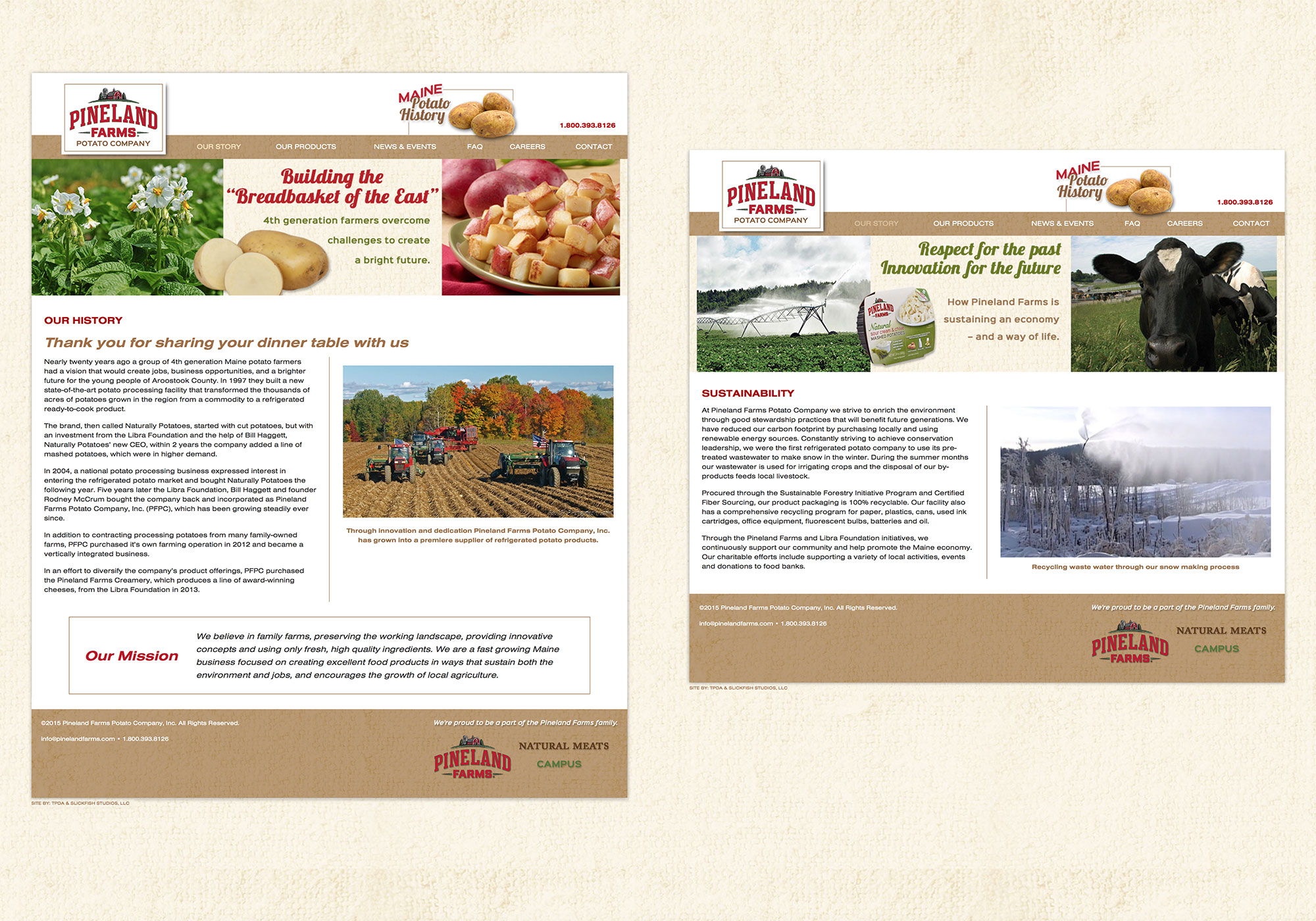 SlickFish, a Portland, Maine web design company, created an original, mobile friendly website for Pineland Farms Potato Company.