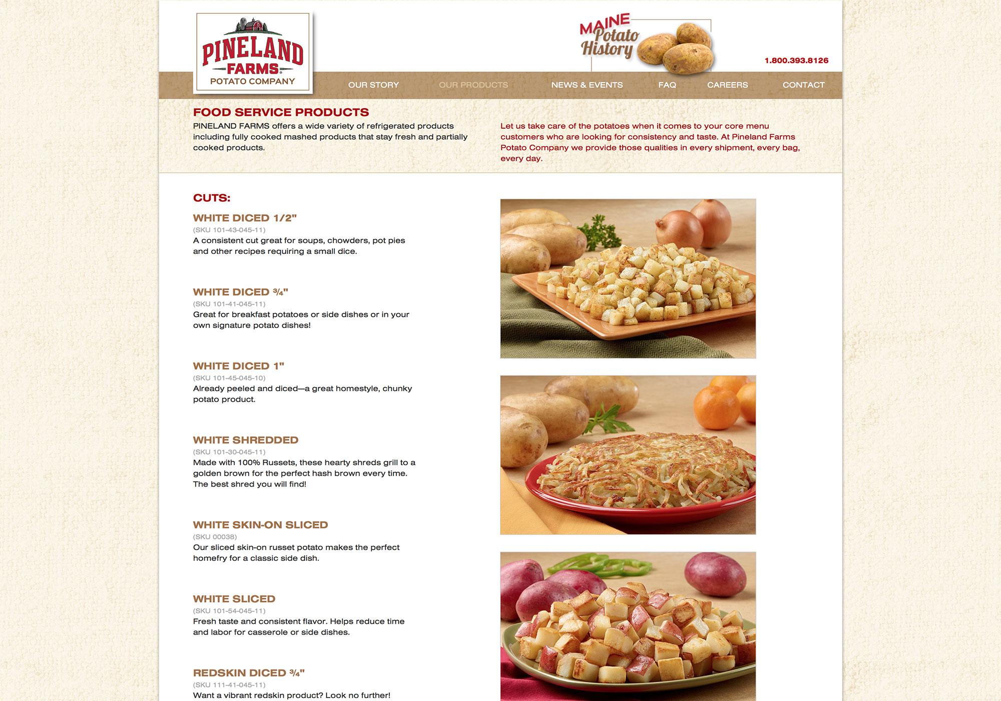 Maine web design company, SlickFish Studios, designed the new Pineland Farms Potato Company website.
