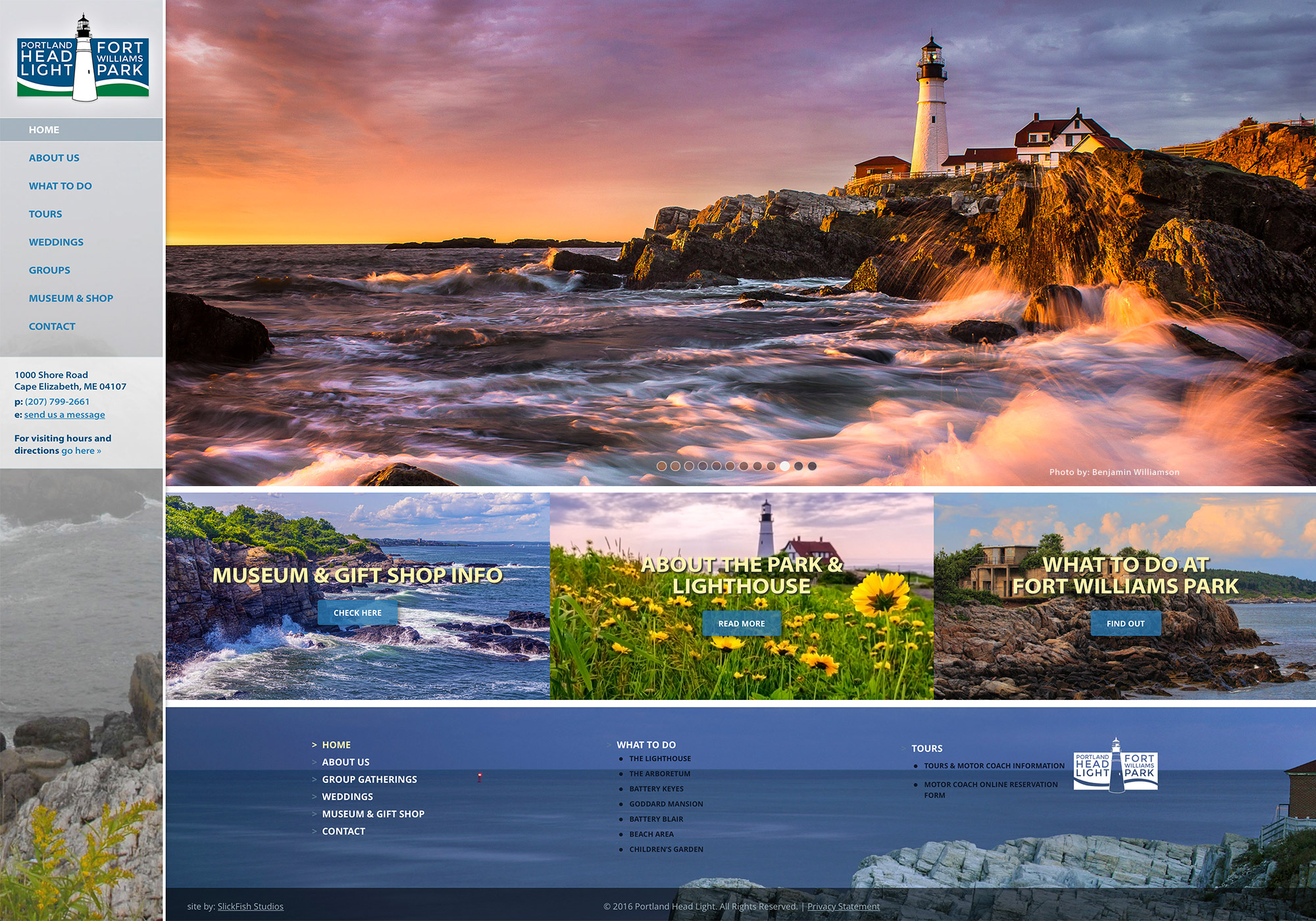 A screenshot of the SlickFish Studios designed and developed website for the Portland Head Light and Fort Williams Park.