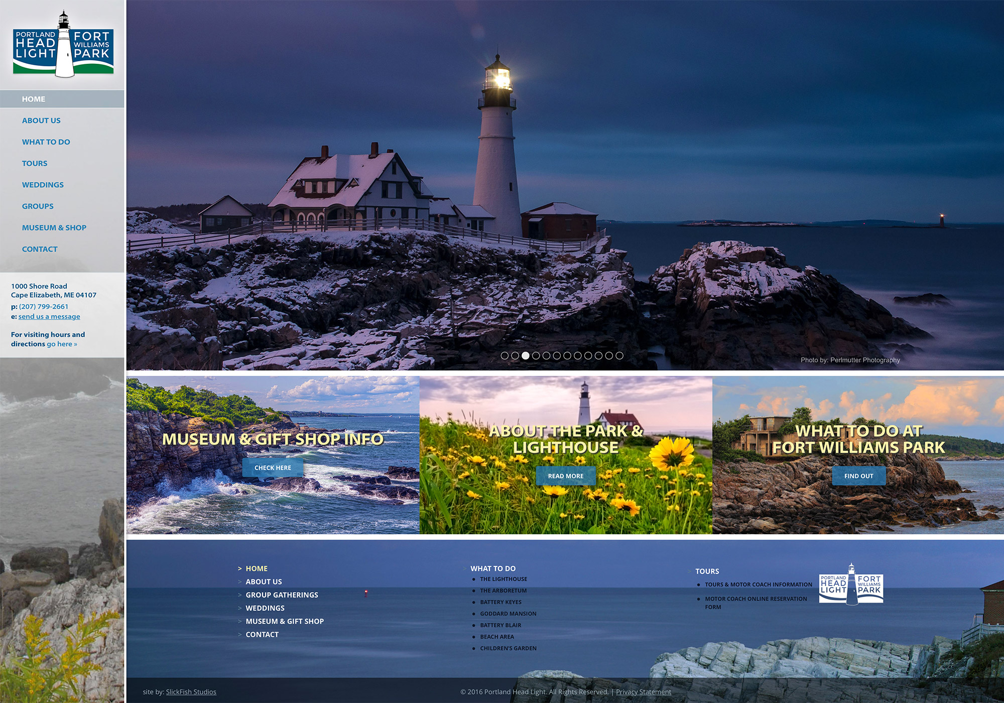 A screenshot of the homepage from the new SlickFish Studios designed website for the Portland Head Light and Fort Williams Park.
