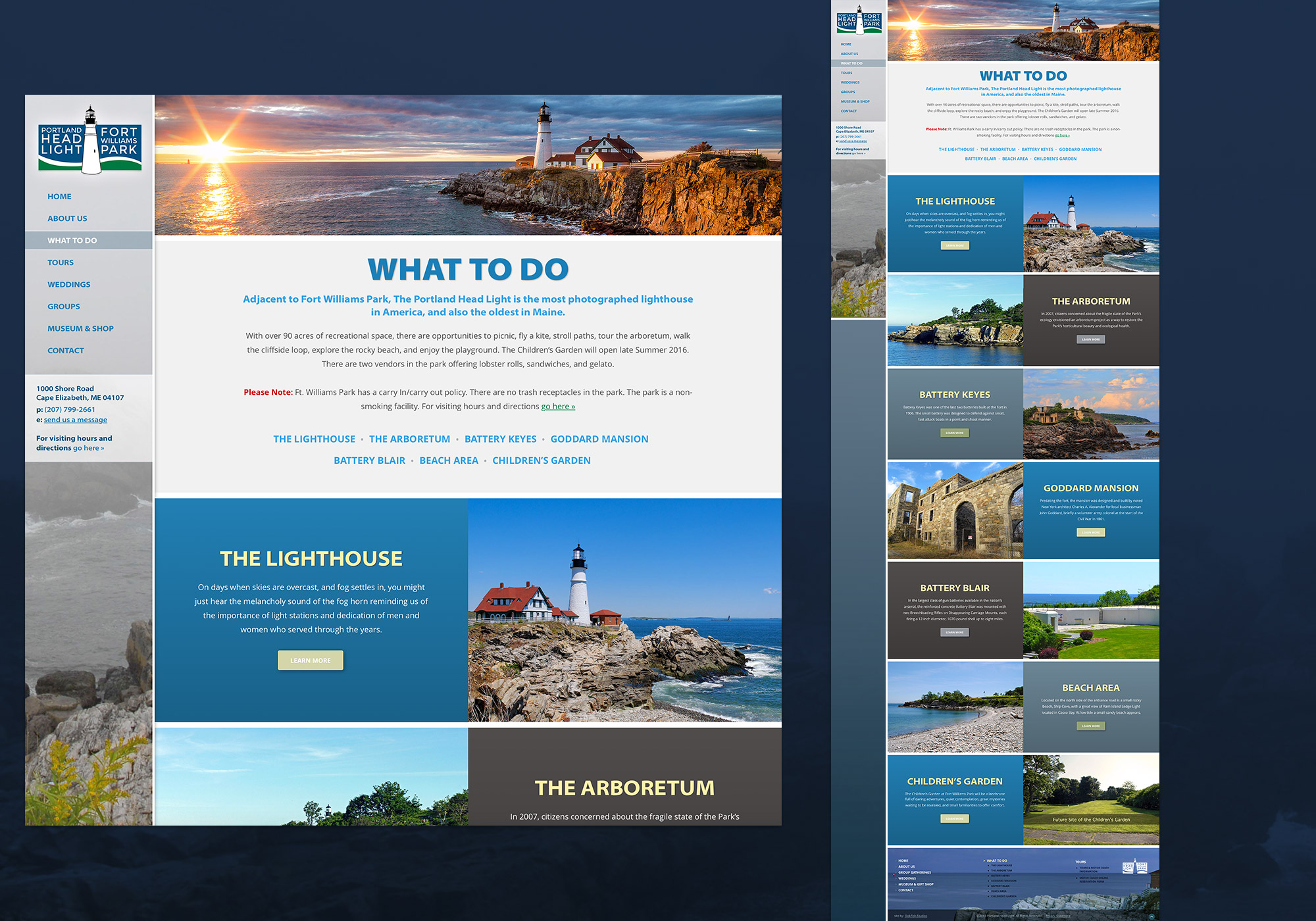 A screenshot of the SlickFish designed Fort Williams Park web site in Cape Elizabeth, Maine.