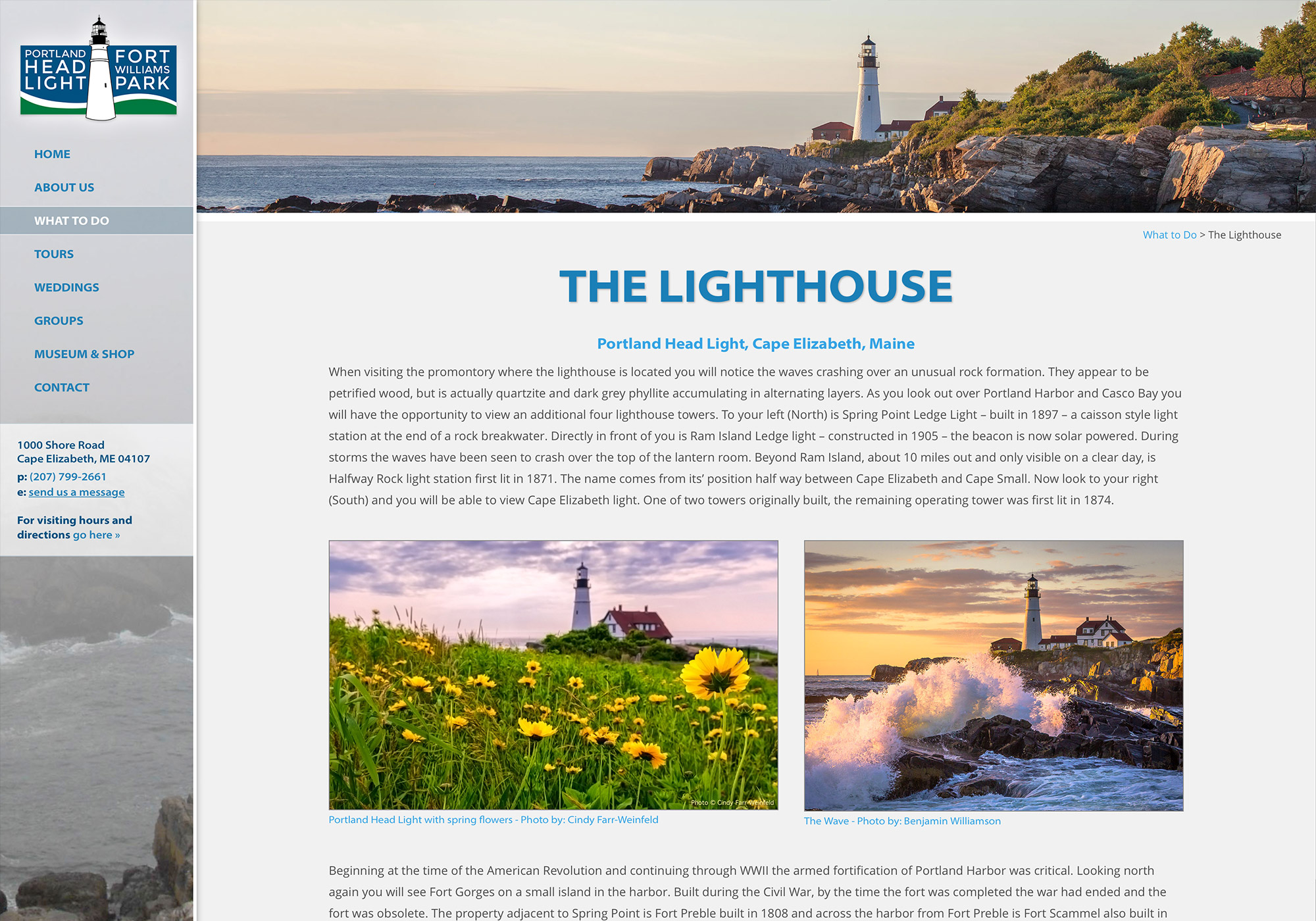 A website and logo design for the oldest lighthouse in Maine, The Portland Head Light. By creative Portland, Maine website design firm, SlickFish Studios.
