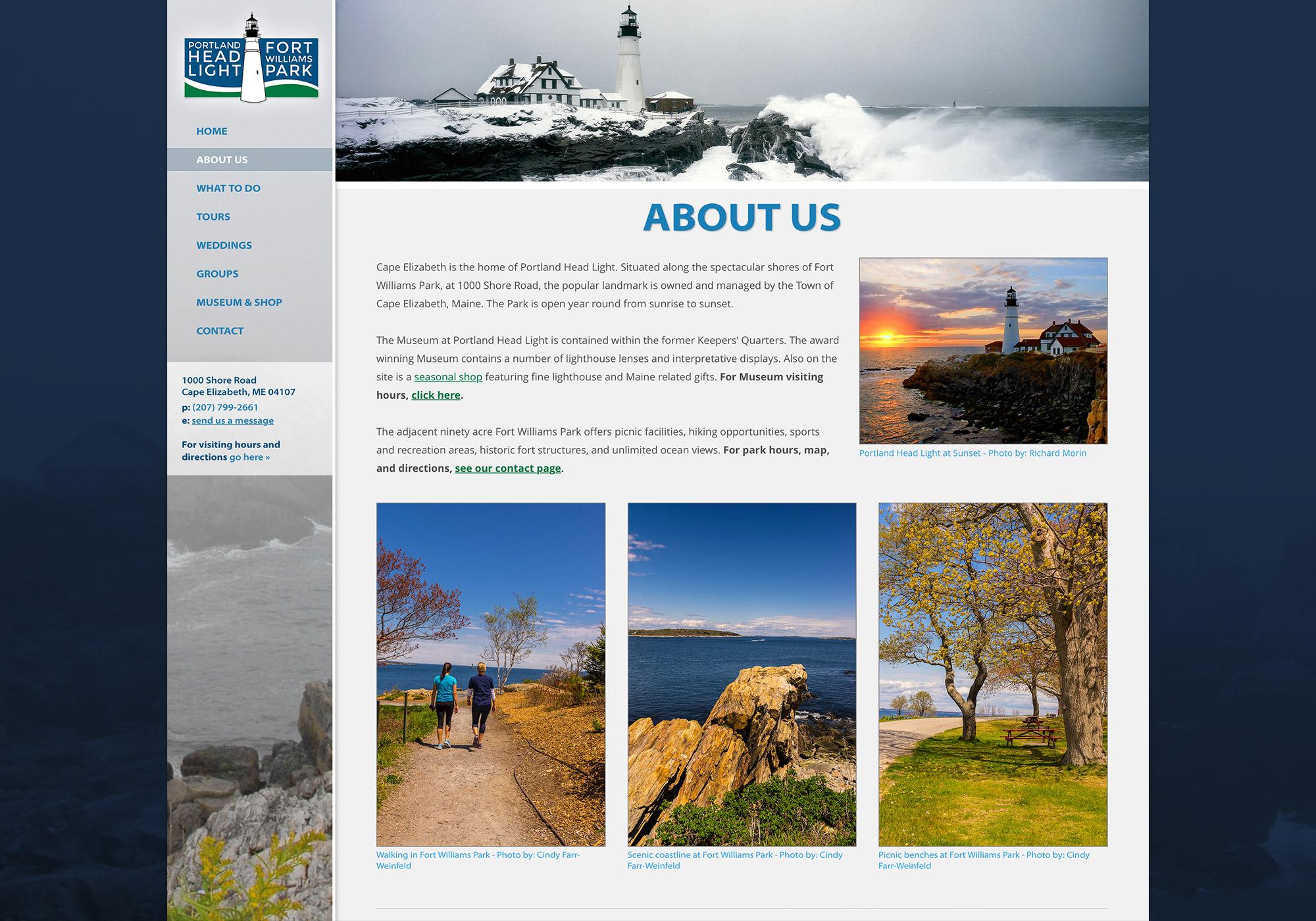 SlickFish, a Portland, Maine website design company, created an original, custom website for the Portland Head Light and Fort Williams Park.