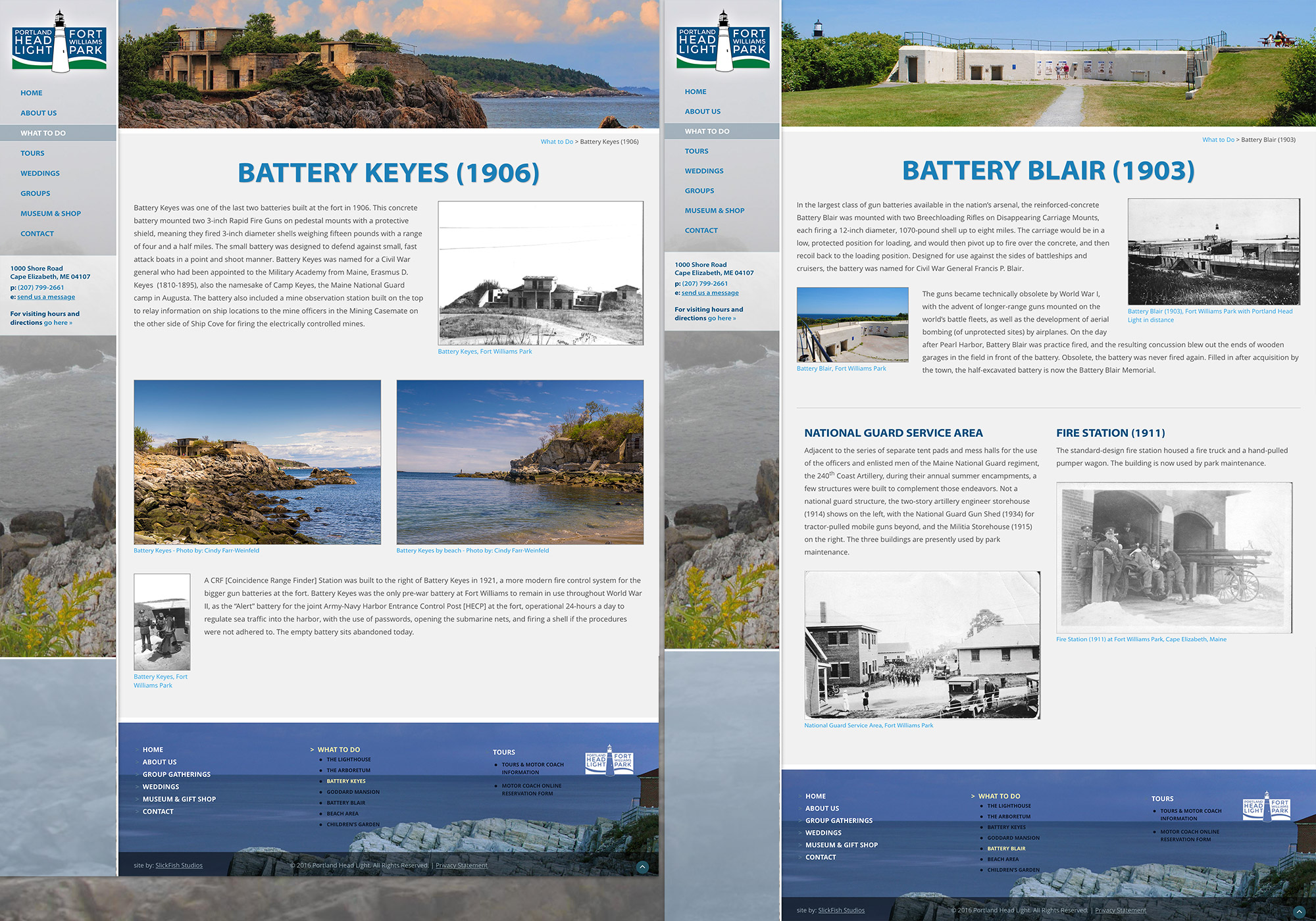 A new, custom, responsive website for the Portland Head Light, in Cape Elizabeth, Maine by craft website design company SlickFish Studios, in the Old Port of Portland, Maine.
