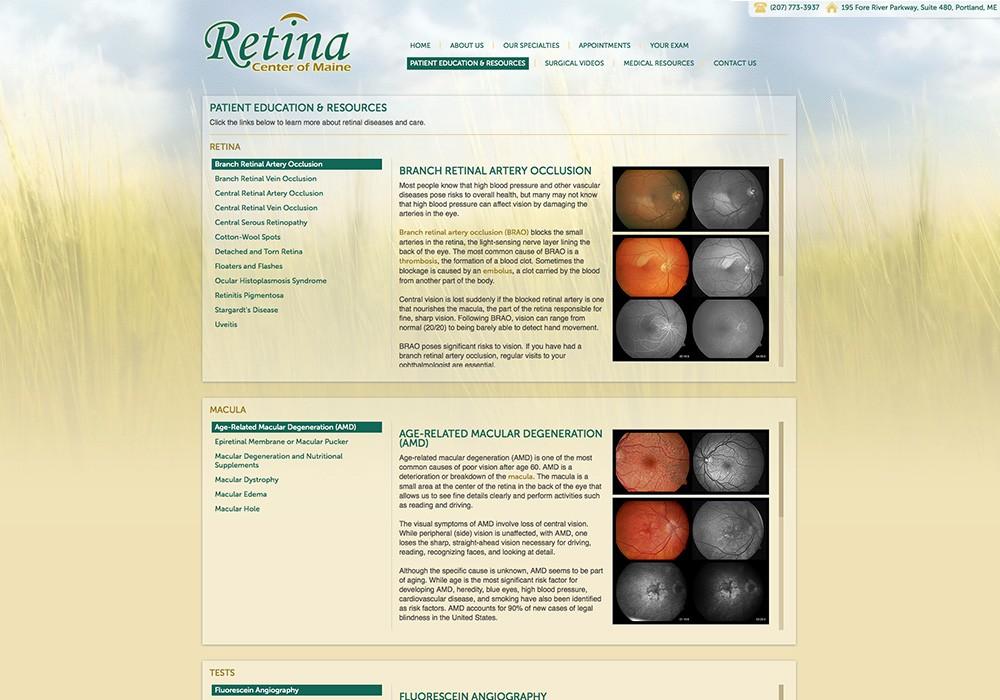 Retina Center of Maine: A Maine Website Design by SlickFish Studios
