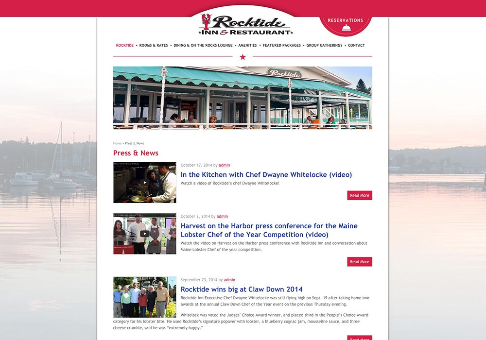 SlickFish designed this Boothbay Harbor Inn & Restaurant website.