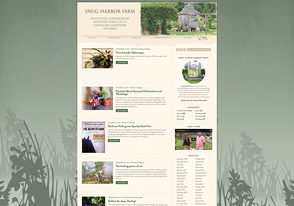 Snug Harbor Farm Blog: A design by SlickFish Web Design