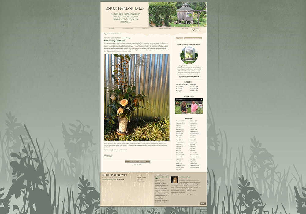 Snug Harbor Blog: A design by SlickFish Web Design